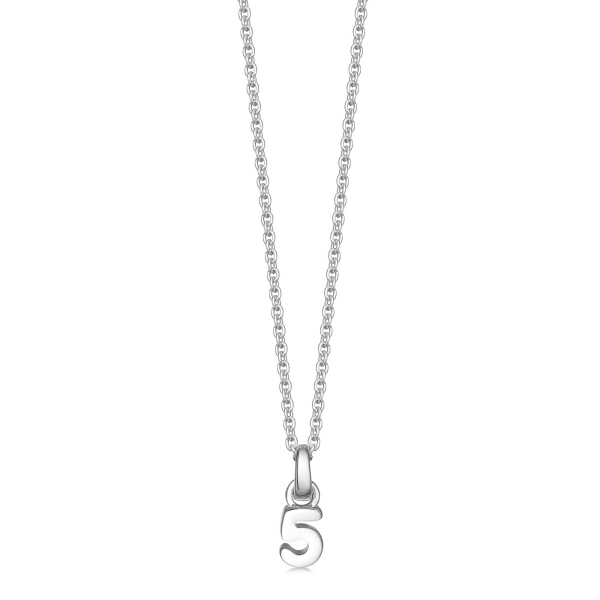 Silver number 5 necklace