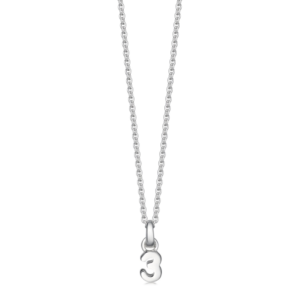 Silver number 3 pendant
