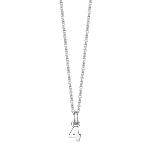 silver number 4 necklace