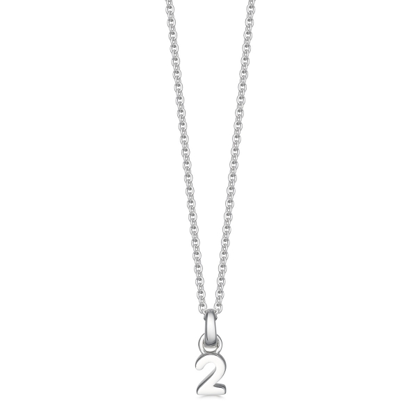 silver number 2 necklace