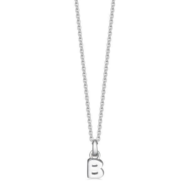 silver letter B initial necklace