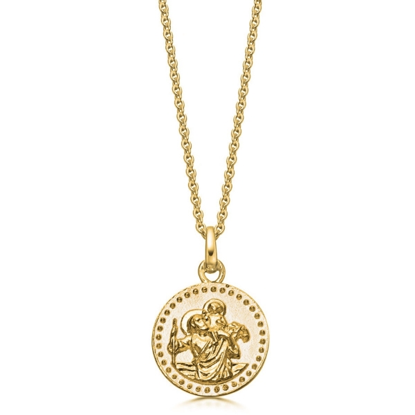 22k Gold Plated St Christopher Necklace