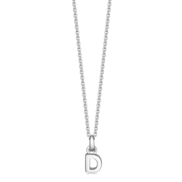 silver letter D initial necklace