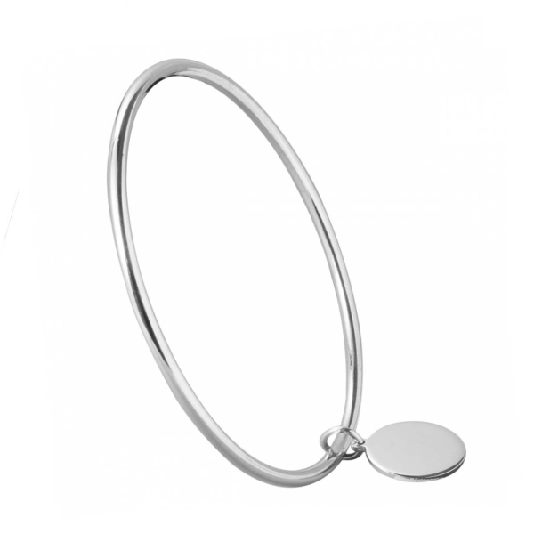 Silver bangle with engravable disc