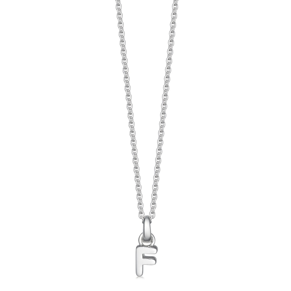 silver letter F initial necklace