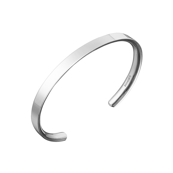 Flat Fronted Silver Open Bangle