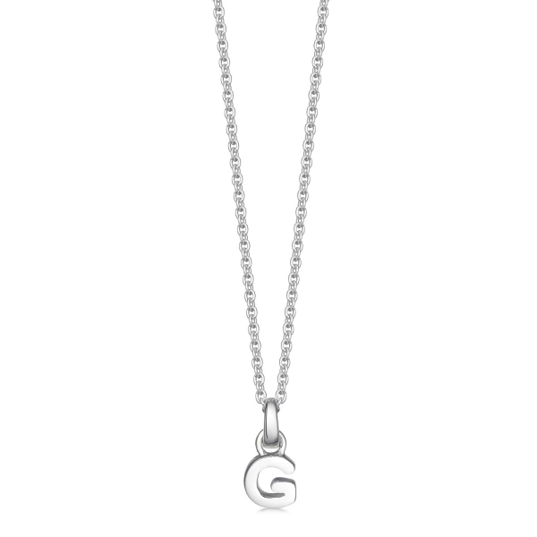 Silver letter G initial necklace