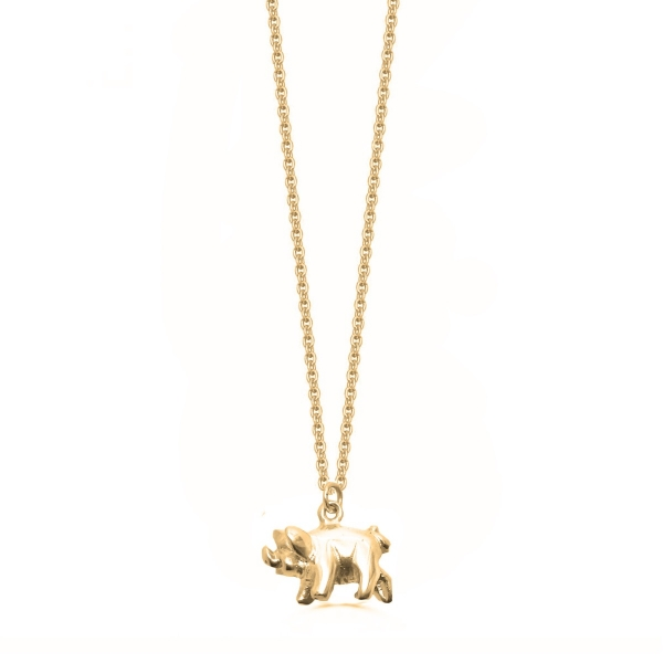 22k Gold Plated and Silver Pig Necklace