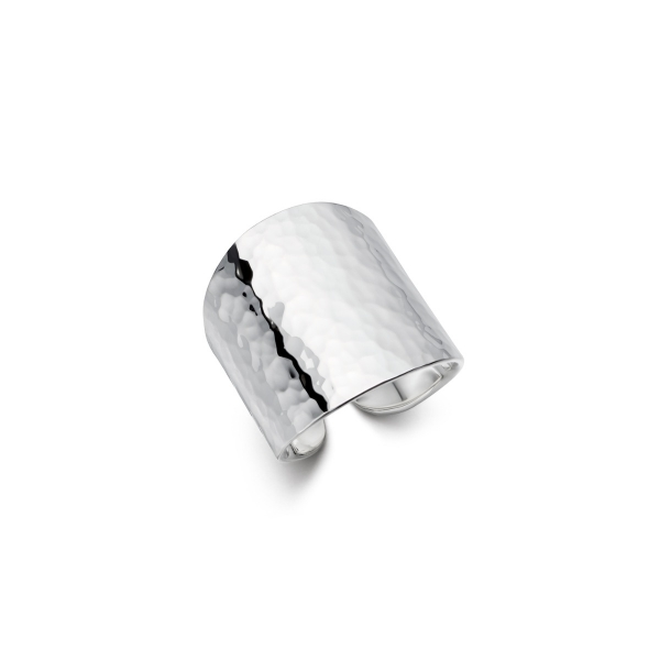Silver hammered cuff ring