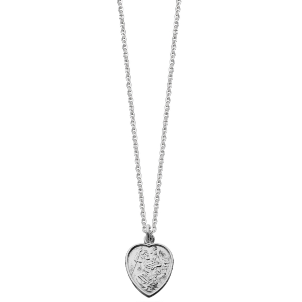 Silver heart st christopher necklace