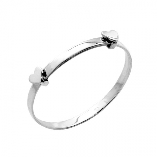Childs heart silver expanding bangle