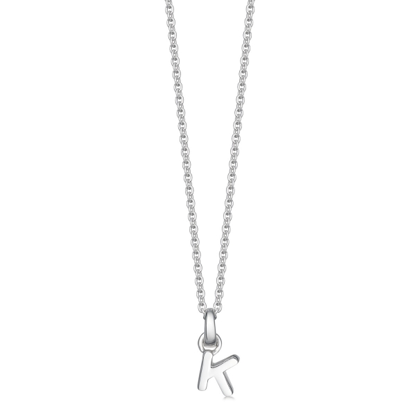 silver letter K initial necklace