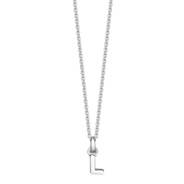 silver letter L initial necklace