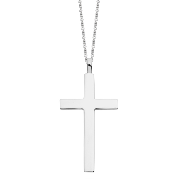 Large silver cross necklace