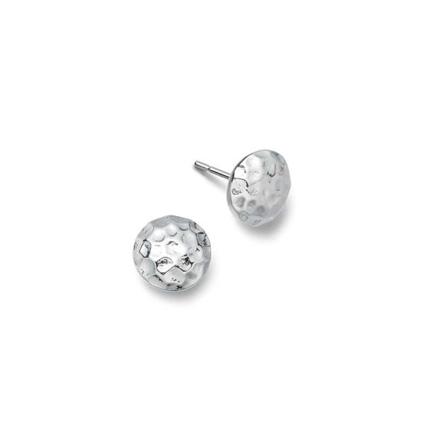 Silver large round hammered earrings