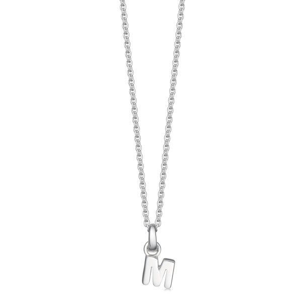 silver letter M initial necklace