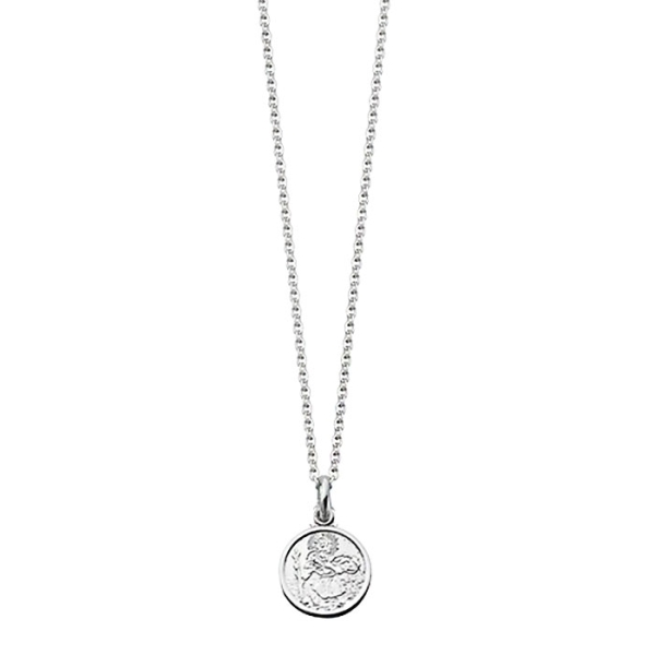 Silver mini round st christopher necklace for children