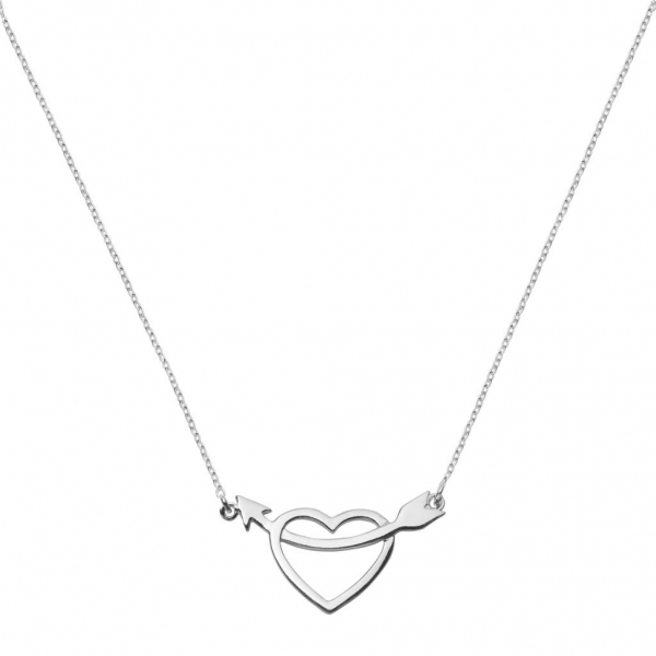 Silver Heart and Arrow Charm Necklace