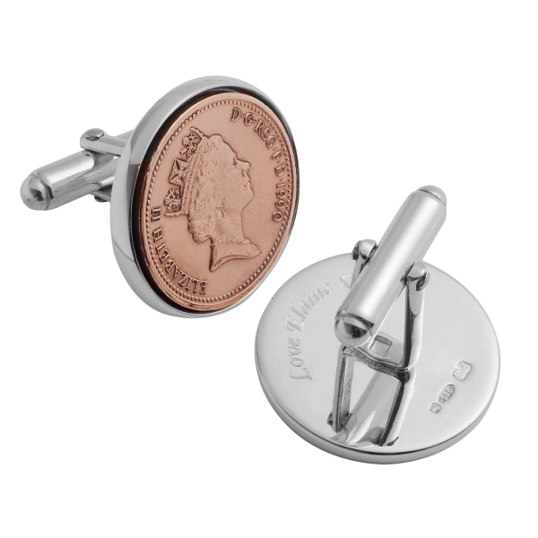 Lucky Penny Cufflinks engraved