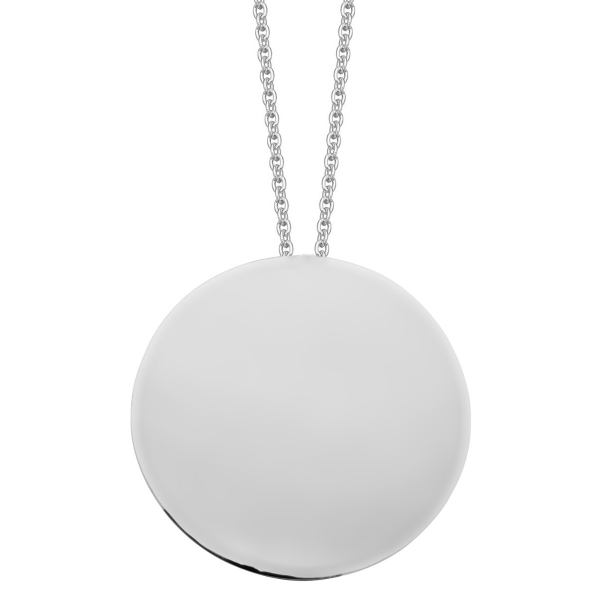 Large domed silver circle pendant