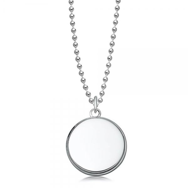 Silver round dog tag pendant