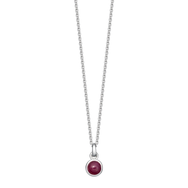 silver and ruby birthstone necklace