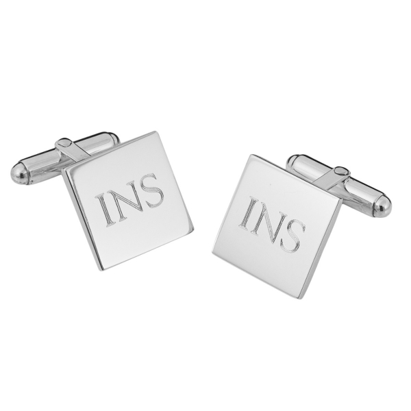 Engraved Square Hinged Cufflinks