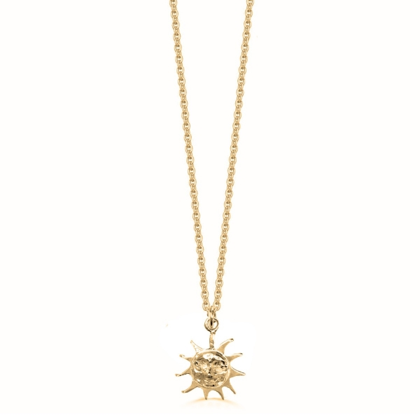 22k Gold Plated and Silver Sun Necklace