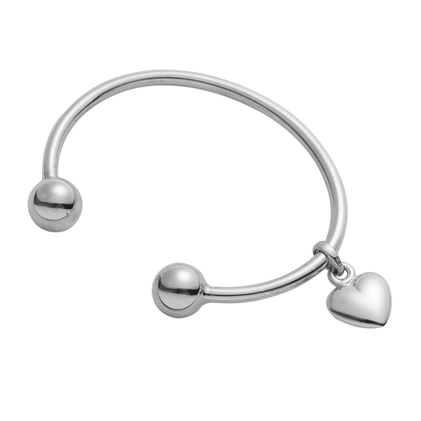 Girls Silver Torque with Sliding Heart Charm