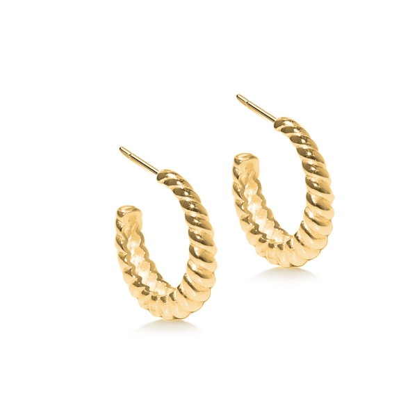 Gold plated chunky twisted hoop earring