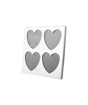 Silver 4 heart square frame