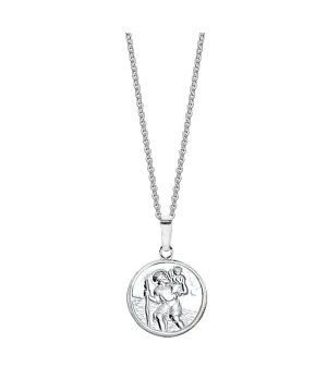 Silver St Christopher medal necklace