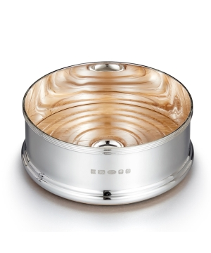 Reeded silver wine coaster