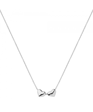 Silver Two Heart Necklace