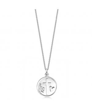 Silver Hope Faith and Love Necklace