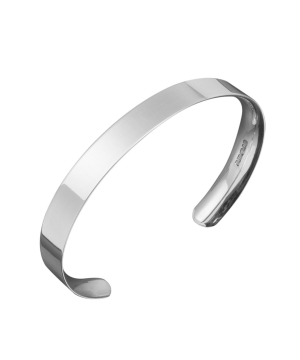 Silver ladies flat fronted bangle