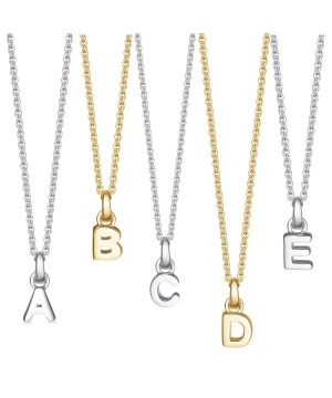 Silver and gold mini initial necklace