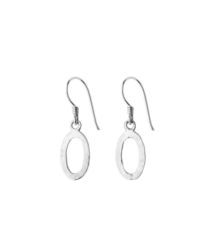 hammered oval silver earrings