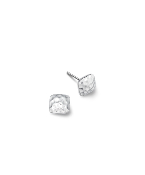Small silver square hammered earrings