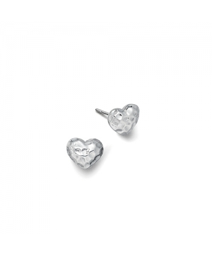 Small Silver Hammered Heart Stud Earrings