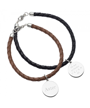 Leather & Silver Personalised Friendship Bracelet