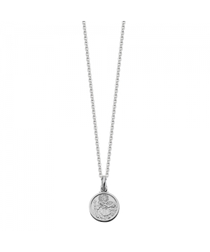 Small Silver Round St Christopher Pendant