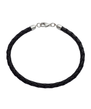 Plaited Leather and Silver Bracelet