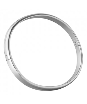 6mm x 3mm Hinged Oval Section Silver Bangle