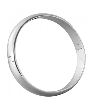 8mm x 4mm Hinged Oval Section Silver Bangle