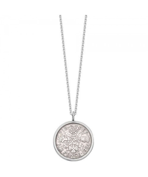 Silver lucky sixpence necklace