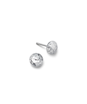 silver hammered round earrings