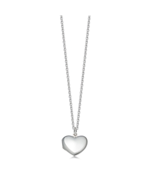 Small silver heart locket and chain