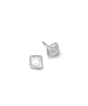 silver square hammered earrings