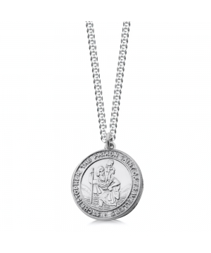 Silver chunky st christopher necklace for men